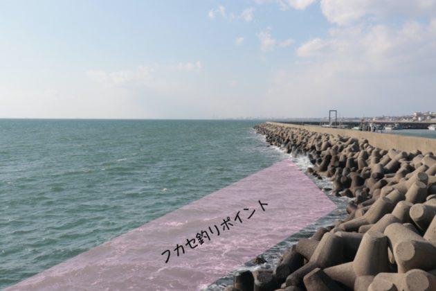 チヌのフカセ釣りポイント現場写真(林崎漁港)