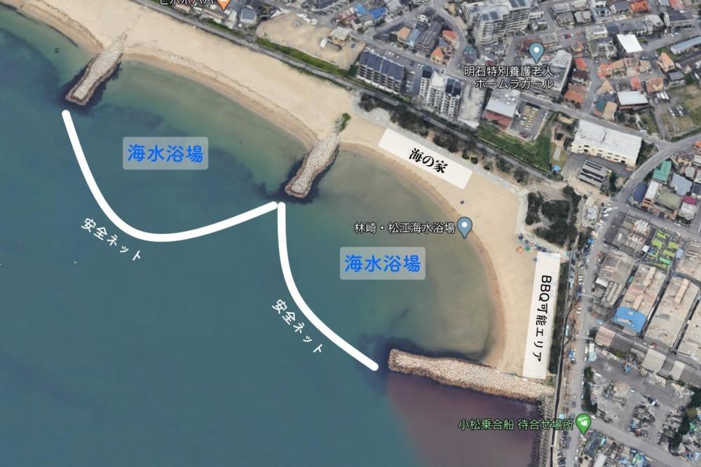 林崎海水浴場を航空写真で解説
