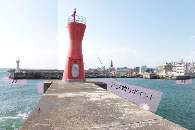 明石港のアジ釣りポイントの場所写真