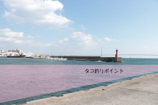 明石港のタコ釣りポイントの場所写真