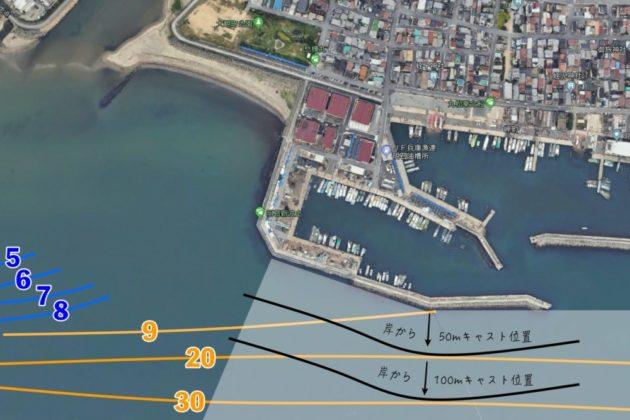 明石新波止で青物が釣れるポイントマップ
