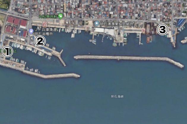 イワシが釣れるポイントMAP(新浜漁港)
