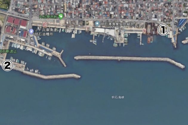 アオリイカが釣れるポイント(新浜漁港)
